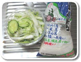 「かんたん浅漬け 浸け丸」に野菜と塩を入れた画像
