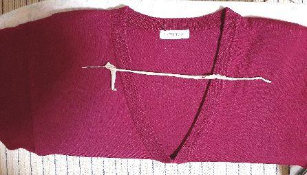 毛糸針にストッキング糸を通した図