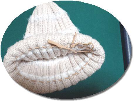 ニット帽伸びたゴム編み補正した図