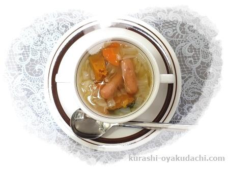 ソーセージと合わせたファイトケミカルスープの画像