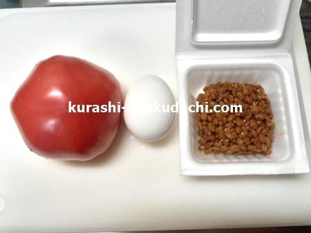 トマトと納豆と卵の中華炒めの作り方 材料